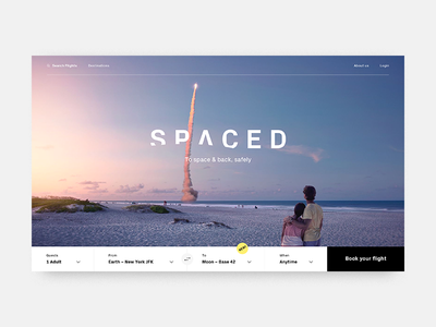 SPACED spacex spaced branding travel booking webdesign homepage space spacedchallenge