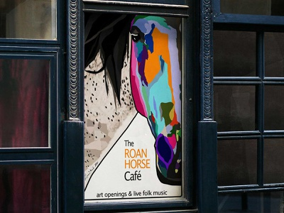 The Roan Horse Cafe modern horse poster art adobe illustrator