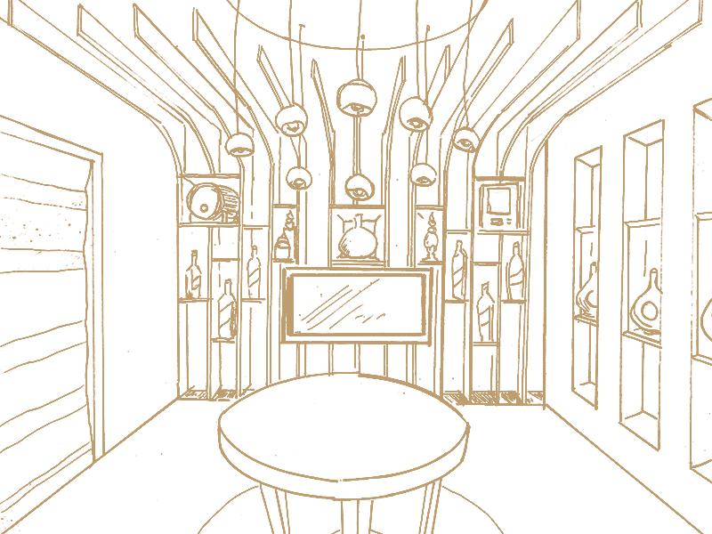 Johnnie Walker Saloon boceto sketch artdirection blend whisky johnniewalker