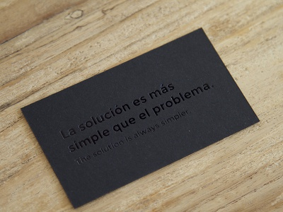 The solution is always simpler. marca brand tarjetas emboss black stationery business cards cards