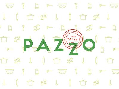 Pazzo Pasta typography simple pattern logo flat diseño design brand