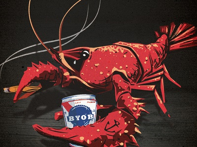 CRAWDF%#@ illustrator drawing freehand crawfish burner pbr art. crustacean illustration