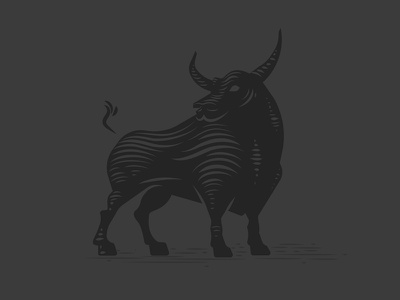 Bull strong relief linocut engraving etching bull iconography mark logo icon art illustration