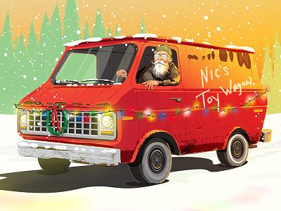 Slay Ride slay ride sleigh ride creepy van branding holiday christmas santa illustration