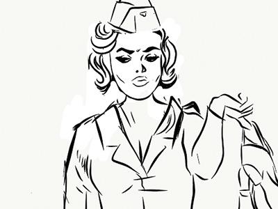 FB- WIP label design digital illustrator adobedraw lineart girl army beer label sketch pinup girl gang art retro illustration drawing