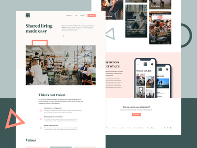 SQRE Living - Homepage dublin city ux ui co-working young professionals students co-living housing living webdesign landing page