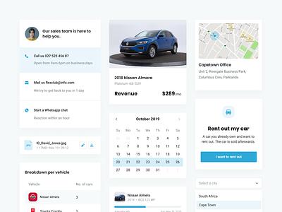Flexclub - Dashboard Components styleguide components vehicle dashboard ux dashboard ui stats marketplace rental uber car dashboard
