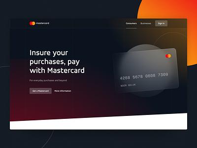Hero Concept Finance - Glass Card consumer business landing heading hero purchase pay grain blur glass creditcard mastercard finance