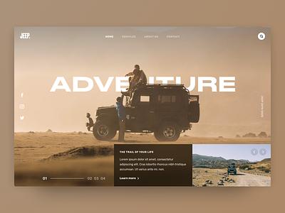 Hero Experiments - Adventure 🏔 slider webdesign header ui landing concept adventure car jeep hero