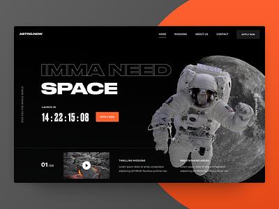 Hero Experiments - Space 🚀 experiment concept explore mars countdown moon astronaut nasa space webdesign hero header ui