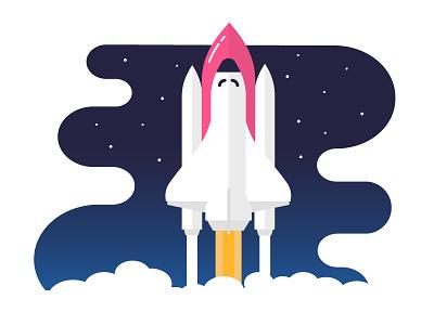 Hello Dribbble ! 🚀 ship rocket shuttle space hello illustration debut