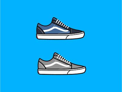 Vans Old Skool Blue/Grey vector illustration style shoes vans