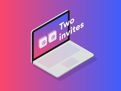 +2 Dribble Invites 🤙🏼 dribbble isometric macbook laptop draft invitations deux two invite