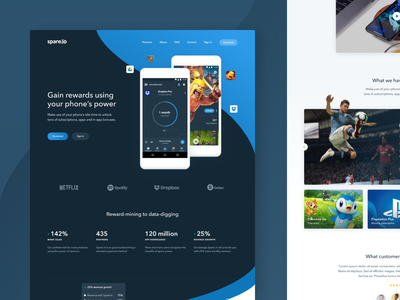 Spare.io - Website apps benefits rewards ui mobile app clash of clans ios game android game landing page