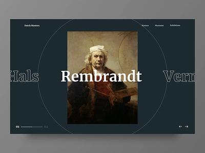 Dutch Masters - Explore Painters Concept transition dutch rembrandt cultural landing page motion animation user interface masterpiece painters museum art