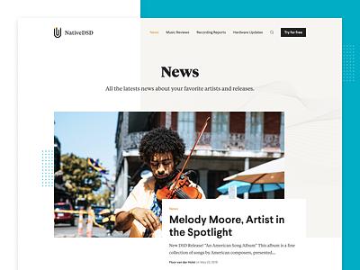 NativeDSD - Blog Overview classical music website builder website desktop music news website article blog design