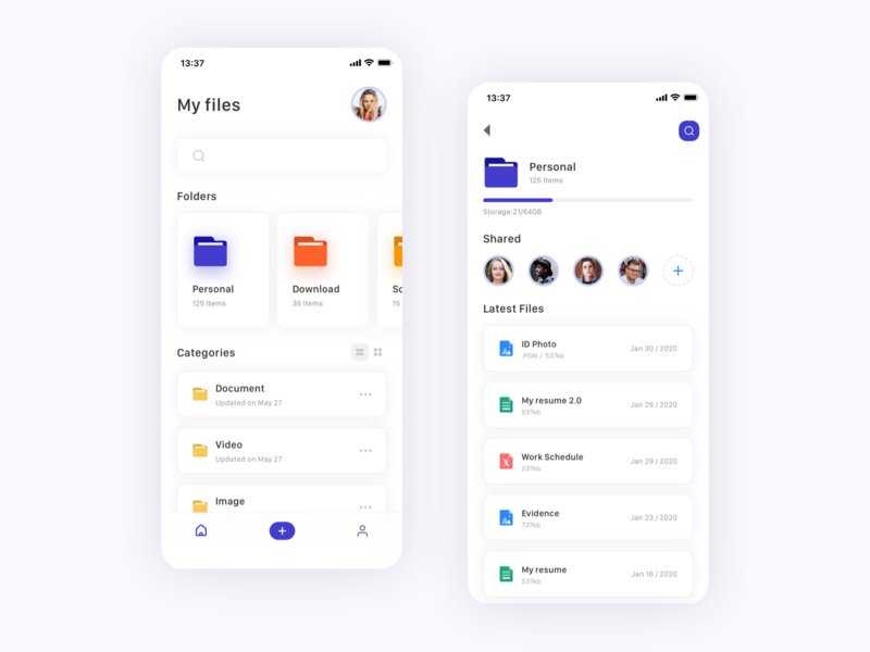 File synchronization app shadow imgage files search list upload document art storage file sharing file manager branding card app ui