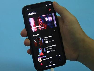 Animation for Music App mobile app black album music video animation ux