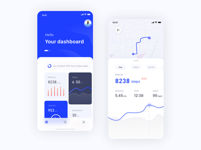 Mobile Health App fit activity data well fitness health app ui