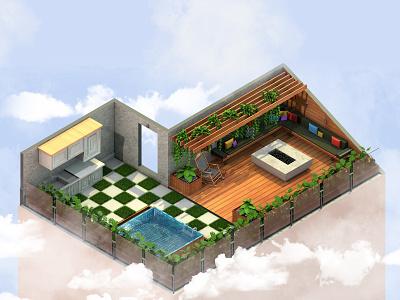 Low Poly Roof Garden 3ddesign 3d art blender c4d 3d lowpolygon lowpoly3d lowpolyart lowpoly