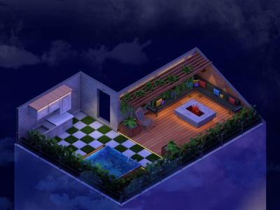 Night Shift of Roof Garden lowpoly cinema4d blender c4d 3d lowpolydesign 3ddesign lowpolyart low-poly low poly