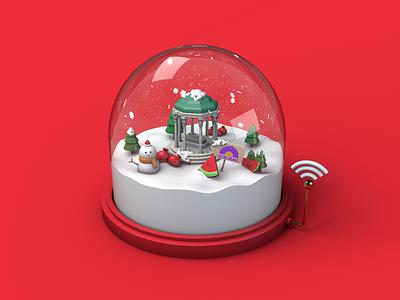 Winter is Comming! wifi pomegranate watermelon render blender 3d illustration snow globe glass 3d tree snowman winter lowpoly c4d 3d animation 3d