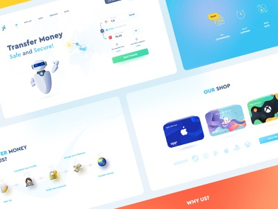 Transfer Money Landing Page product product design landing money transfer modern design lightui card cart giftcard uidesign webdesign coin money finance fintech landingpage userinterface ux ui