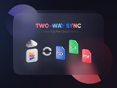 Two-Way Sync 3d cloud doc blender render illustration sync cloud 3d ui ui landing page icon pdf dark 3d icon