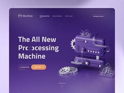 Processing Machine 🤖 trend tiny mini machine pipe gear cta purple dark landing page hero 3d design 3d illustartion 3d icon illustration ux blender 3d proccess machine ui
