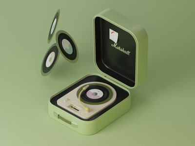 3D Retro Turntable device voice recorder music player old vintage cycle render cinema 4d blender classic illustration icon music disk green turntable 3d retro