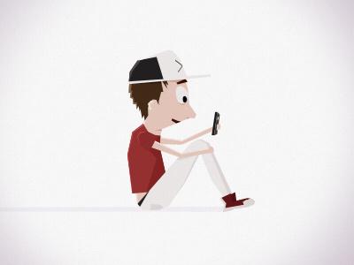 Boy boy texting sit cap phone