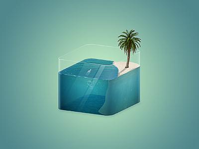 Little exercising icon sea palm sand bottle water aquarium