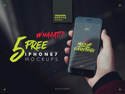 5 Free iPhone7 PSD Mockups free layered photoshop mockup ui ux iphone7