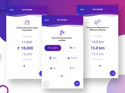 Filter options - Hotel booking app