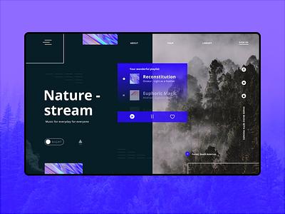 Music Player Desktop App (Night) branding web typography design app ui