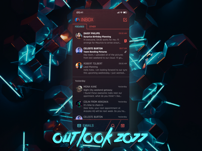 Outlook 2077 - What does an email app look like in the future? smartphone mobile product design neon cyberpunk future outlook microsoft messaging mail email flat minimal ux app ui design