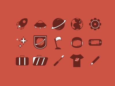 Intergalactic Icons ixdbelfast rocket travel space travel space design icons icon set