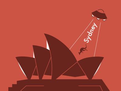 Visit Sydney ufo ixdbelfast opera house kangaroo vector illustration design app travel sydney