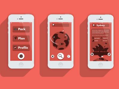 Pack-Naut Travel App mockup interface ixdbelfast ux ui vector illustration design app travel