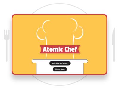 Atomic Chef illustrated periodic table cooking splash screen children kids chef ux ui ixdbelfast