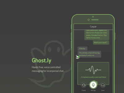 Ghost.ly ux design ui design daily ui fantasyui side project 12in12 messaging app app