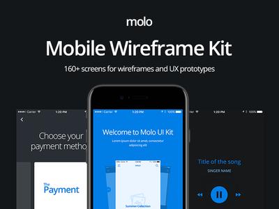 molo Mobile Wireframe Kit - CreativesCastle ecommerce blog profile sign up login walkthrough prototype ux wireframe kit ui mobile