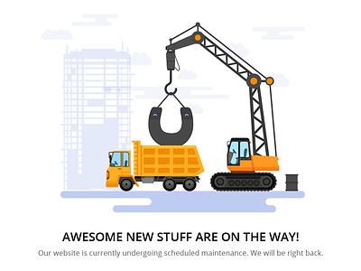 Maintenance page tools upgrade illustration crane construction bulldozer building app maintenance