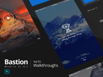 Bastion Mobile UI Kit | #01 Walkthroughs flat screen ux photoshop walkthrough kit ui mobile