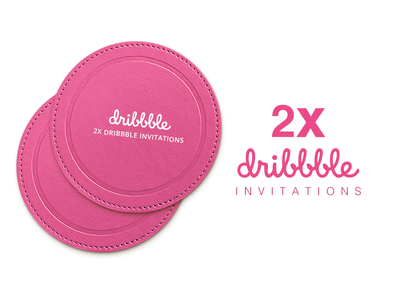 2x Dribbble Invitations 2 dribbble invitation two illustration giveaway join invite