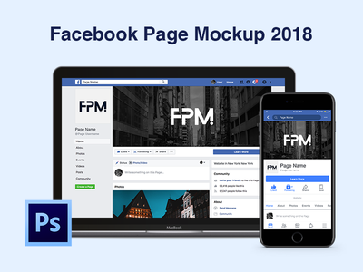Facebook Page Mockup 2018 media social fb psd photo cover picture profile template mockup page facebook