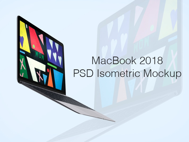Macbook 2018 PSD Isometric Mockup apple template mockup isometric psd macbook