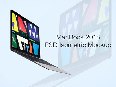 Macbook 2018 PSD Isometric Mockup