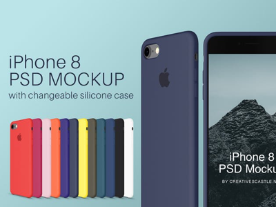 iPhone 8 PSD Mockup with Silicone Case cover silicone case presentation phone apple mobile psd mockup iphone 8 iphone