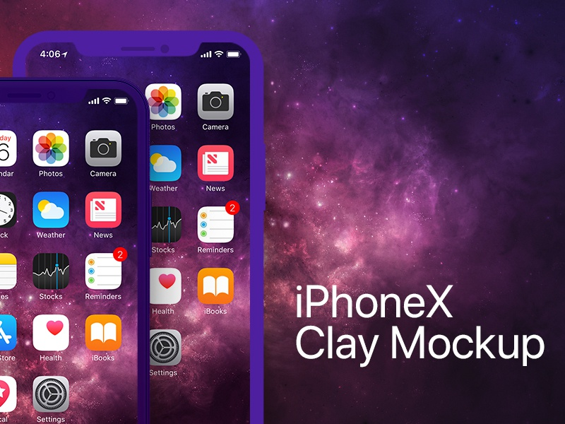 iPhone X Clay Frontal PSD Mockup mobile front clay apple ios psd mockup iphone x iphone